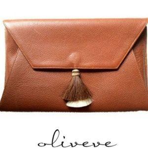 OLIVEVE CLEO ENVELOPE CLUTCH IN COGNAC